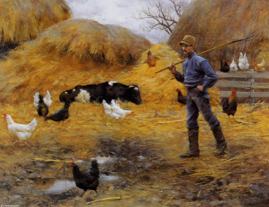 famous painting In The Barnyard of Charles Courtney Curran