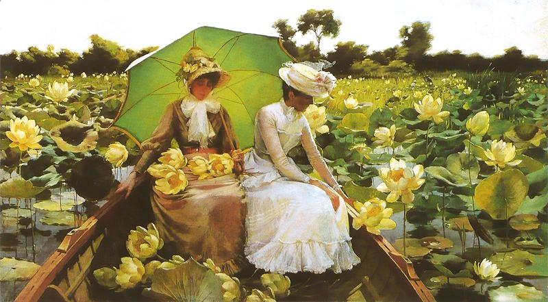 famous painting Lotus Lilies of Charles Courtney Curran
