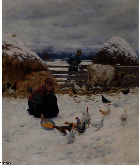 famous painting N The Barnyard of Charles Courtney Curran