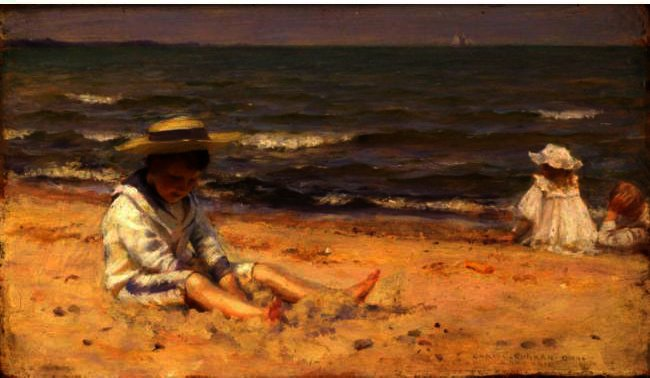 famous painting On The Beach, Lake Erie of Charles Courtney Curran