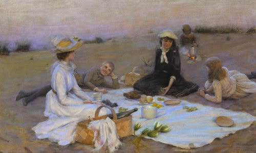 famous painting Picnic Supper On The Dunes of Charles Courtney Curran