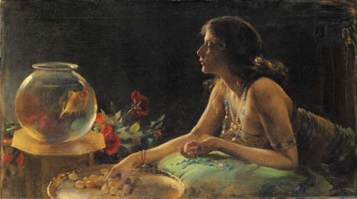 famous painting The Goldfish of Charles Courtney Curran