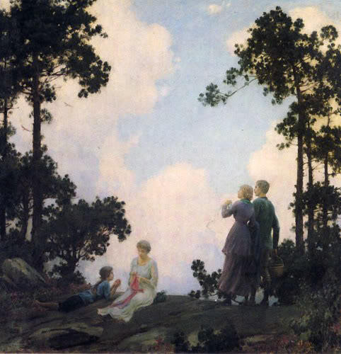 famous painting Under The Pines of Charles Courtney Curran