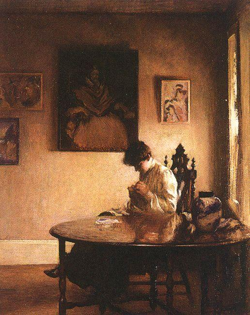 famous painting Girl Crotcheting of Edmund Charles Tarbell