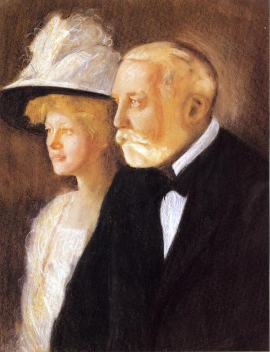 famous painting Study for Portrait of Henry Clay Frick and His Daughter, Helen of Edmund Charles Tarbell