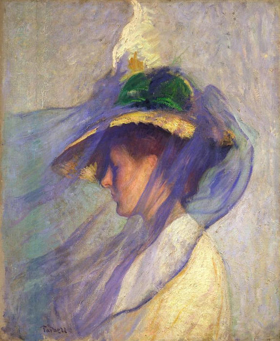 famous painting The Blue Veil of Edmund Charles Tarbell