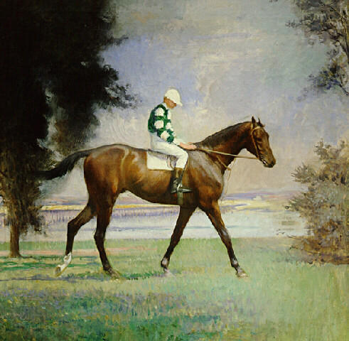 famous painting Thoroughbred with Jockey up of Edmund Charles Tarbell