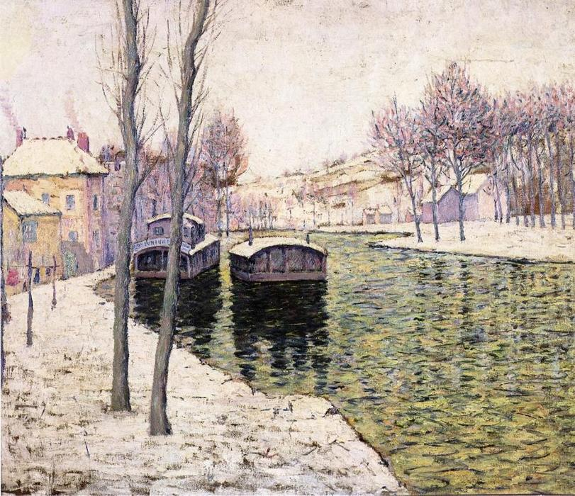 famous painting Barges on the Seine of Ernest Lawson