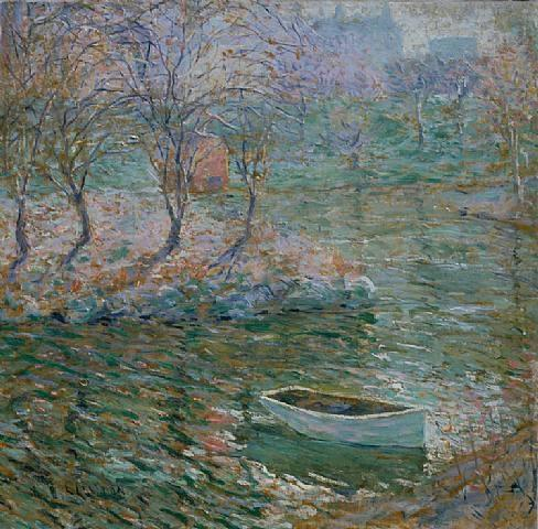 famous painting Boat in Central Park of Ernest Lawson