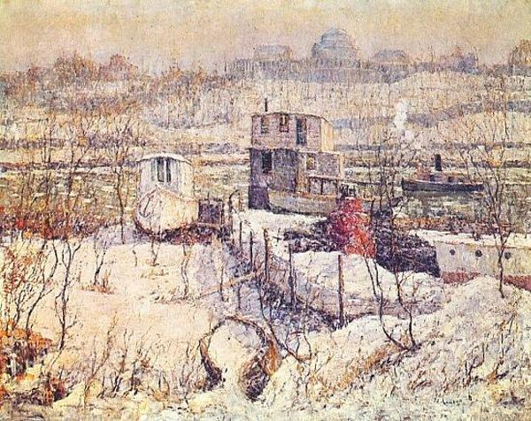 famous painting Boathouse, Winter, Harlem River of Ernest Lawson