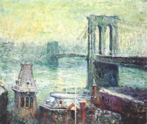 famous painting Brooklyn Bridge of Ernest Lawson
