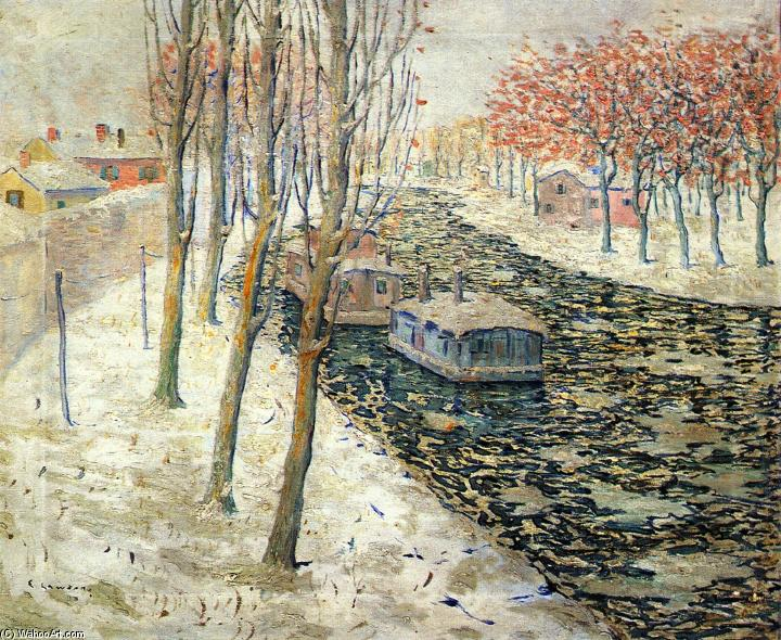 famous painting Canal Scene in Winter of Ernest Lawson
