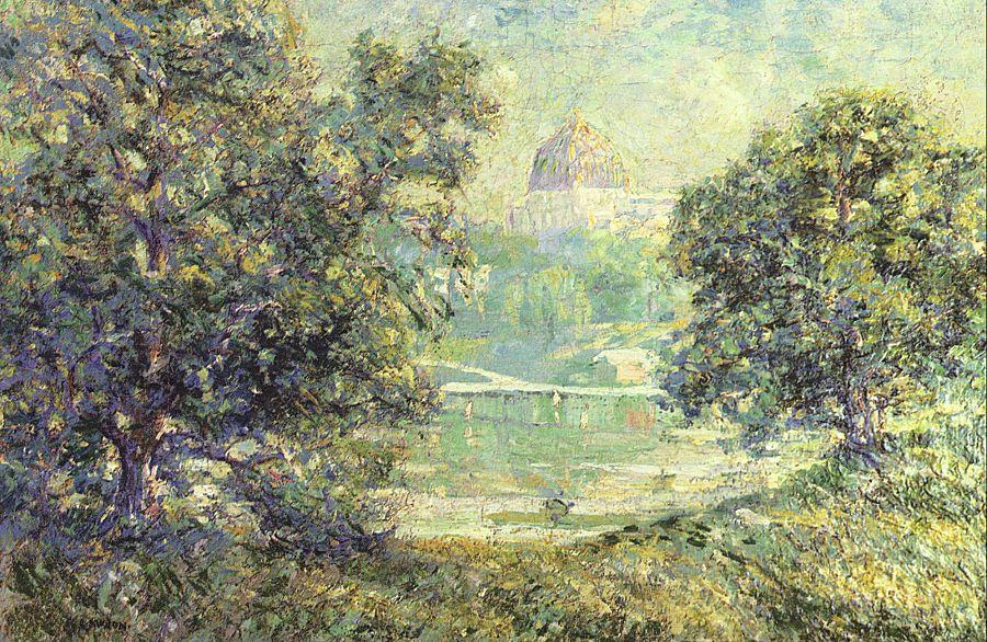 famous painting Central Park and Temple Beth El of Ernest Lawson