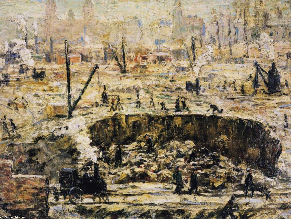 famous painting Excavation - Penn Station of Ernest Lawson