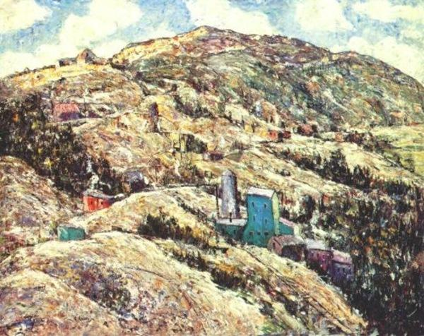 famous painting Gold Mining, Cripple Creek of Ernest Lawson