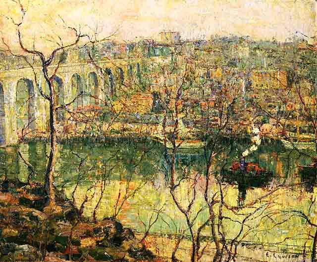 famous painting High Bridge—Early Moon of Ernest Lawson