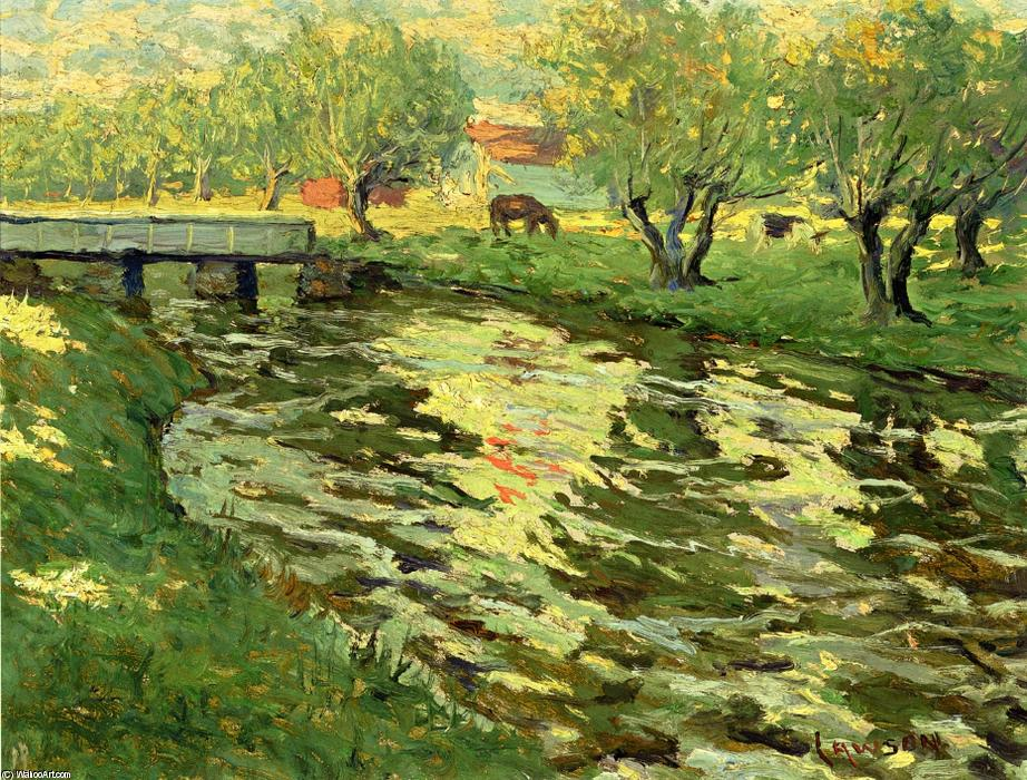 famous painting Horses Grazing by a Stream of Ernest Lawson