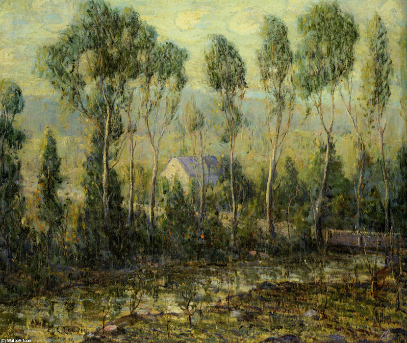 famous painting House by a Stream of Ernest Lawson