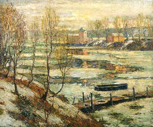 famous painting Ice in the River of Ernest Lawson