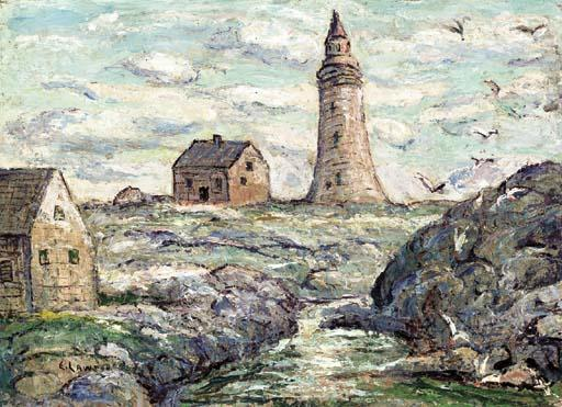 famous painting Lighthouse at Peggy's Cove, Nova Scotia of Ernest Lawson