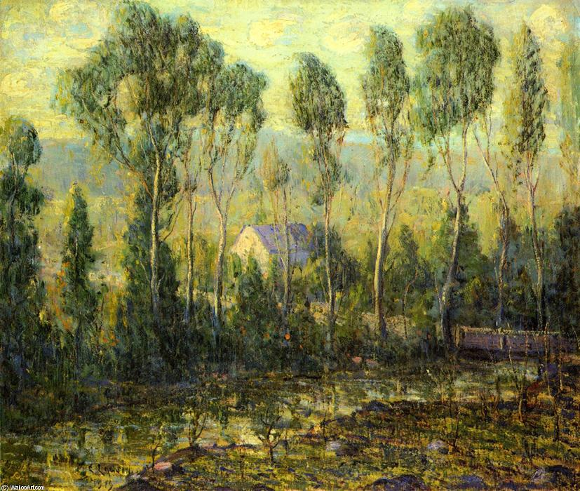 famous painting Poplars along a River of Ernest Lawson