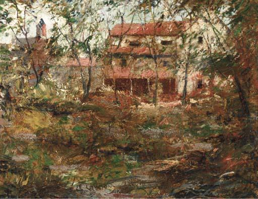 famous painting Red House, Sound Beach of Ernest Lawson