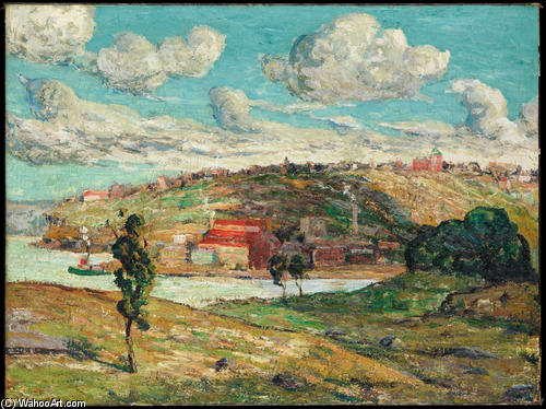 famous painting Shadows, Spuyten Duyvil Hill of Ernest Lawson