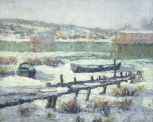 famous painting Snowbound Boats of Ernest Lawson