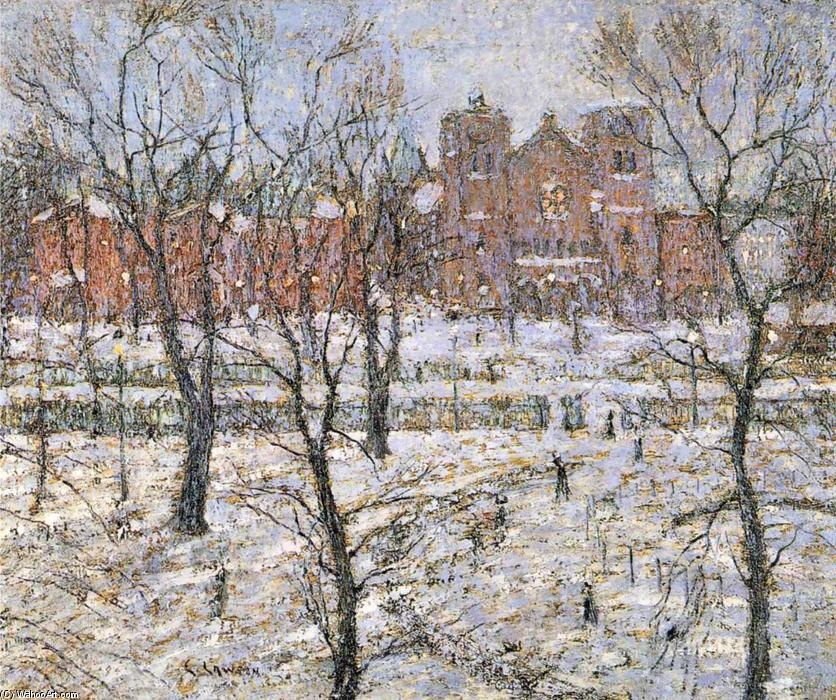 famous painting Stuyvesant Square in Winter of Ernest Lawson
