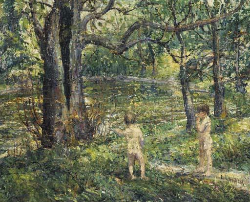 famous painting Swimming Pool in the Meadow of Ernest Lawson