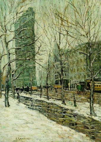 famous painting The Flatiron building 1 of Ernest Lawson