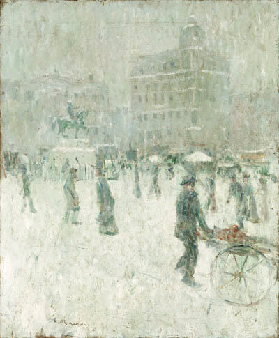famous painting Union Square, New York in Winter of Ernest Lawson