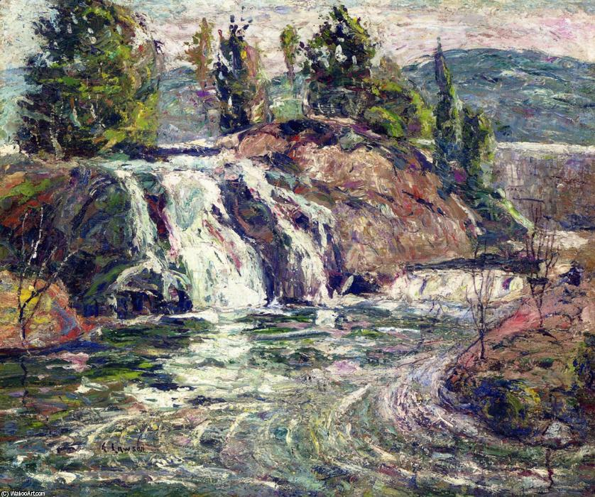 famous painting Waterfall of Ernest Lawson