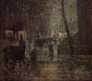 Ernest Lawson - Wet Night, Gramercy Park