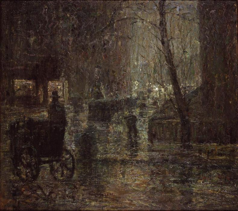 famous painting Wet Night, Gramercy Park of Ernest Lawson
