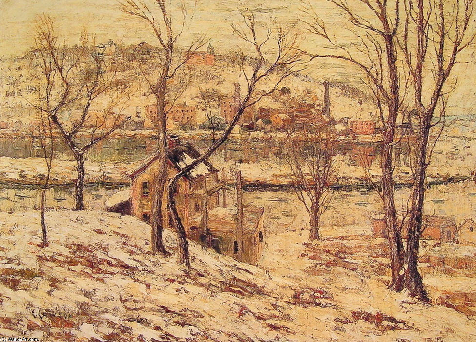 famous painting Winter on the Harlem River of Ernest Lawson