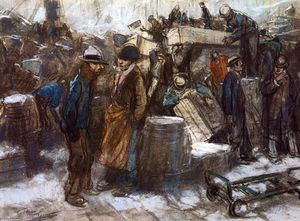 Everett Shinn - The Docks, New York City