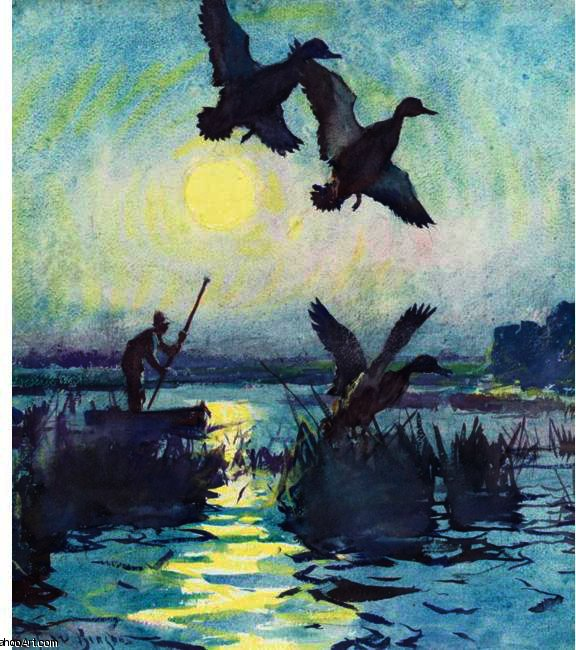 famous painting At Sundown of Frank Weston Benson