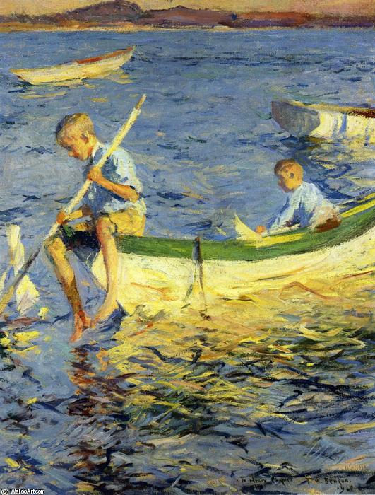 famous painting Boating at Vinalhaven of Frank Weston Benson