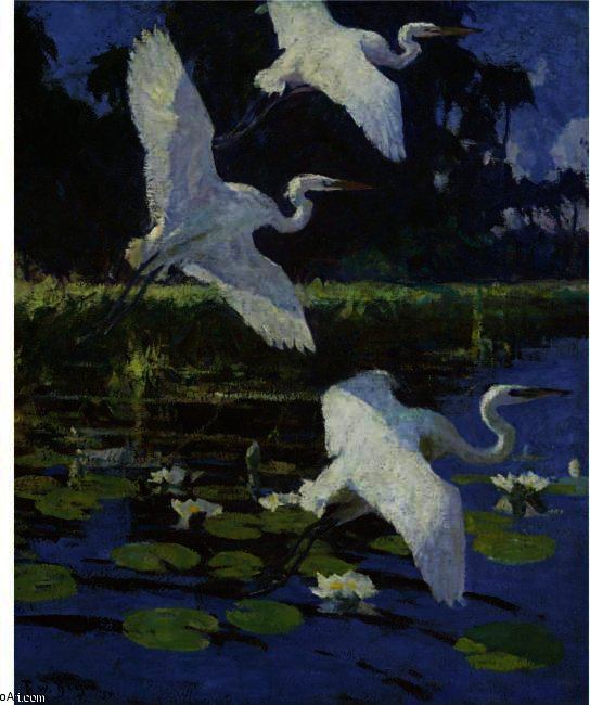 famous painting Herons And Lilies of Frank Weston Benson