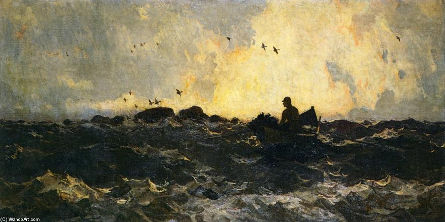 famous painting Hunter in Boat of Frank Weston Benson
