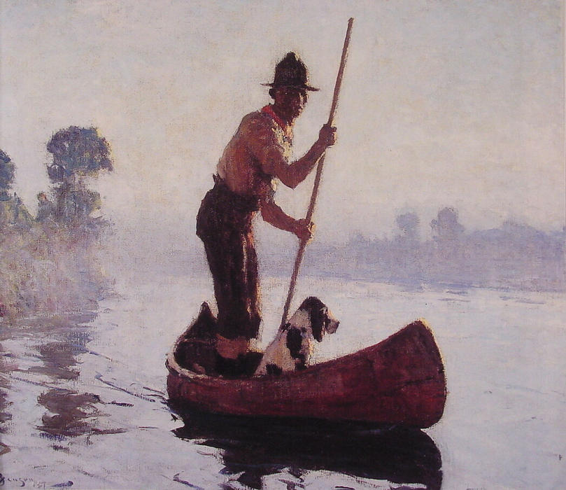 famous painting Indian Guide of Frank Weston Benson