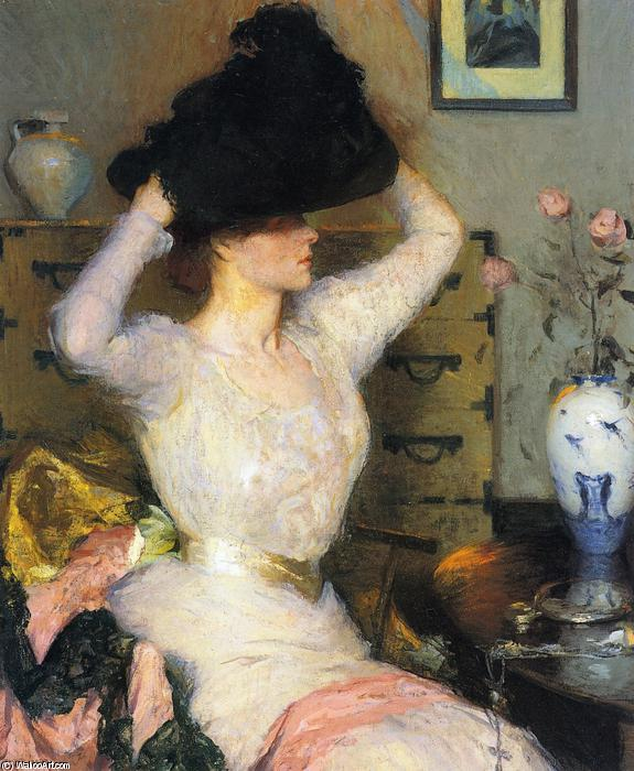 famous painting Lady Trying on a Hat (aka The Black Hat) of Frank Weston Benson