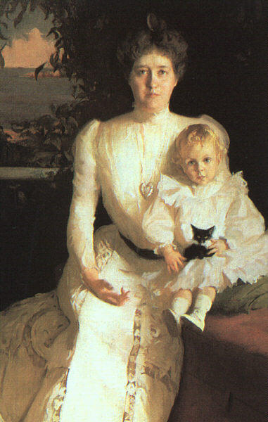 famous painting Mrs. Benjamin Thaw and her Son of Frank Weston Benson