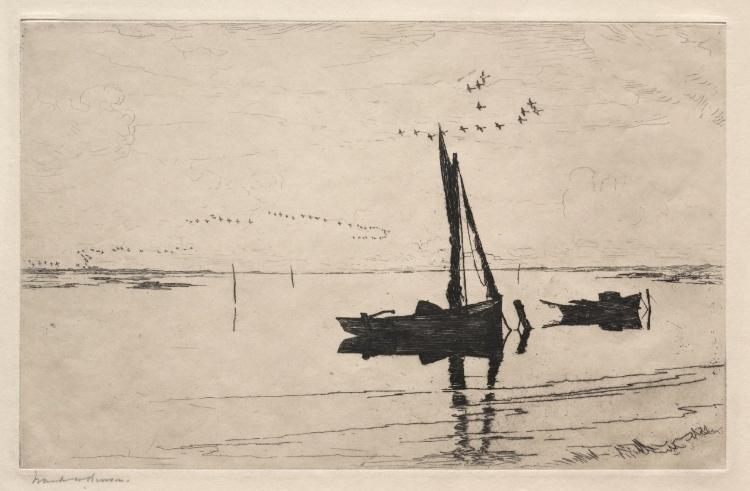 famous painting Off Pea Island of Frank Weston Benson