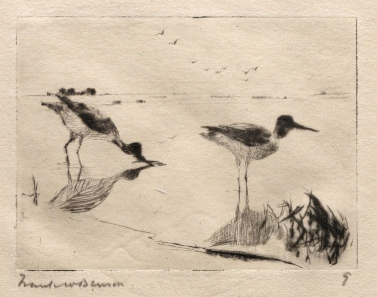 famous painting Pair of Yellowlegs of Frank Weston Benson