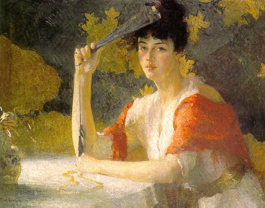 famous painting Red and Gold of Frank Weston Benson