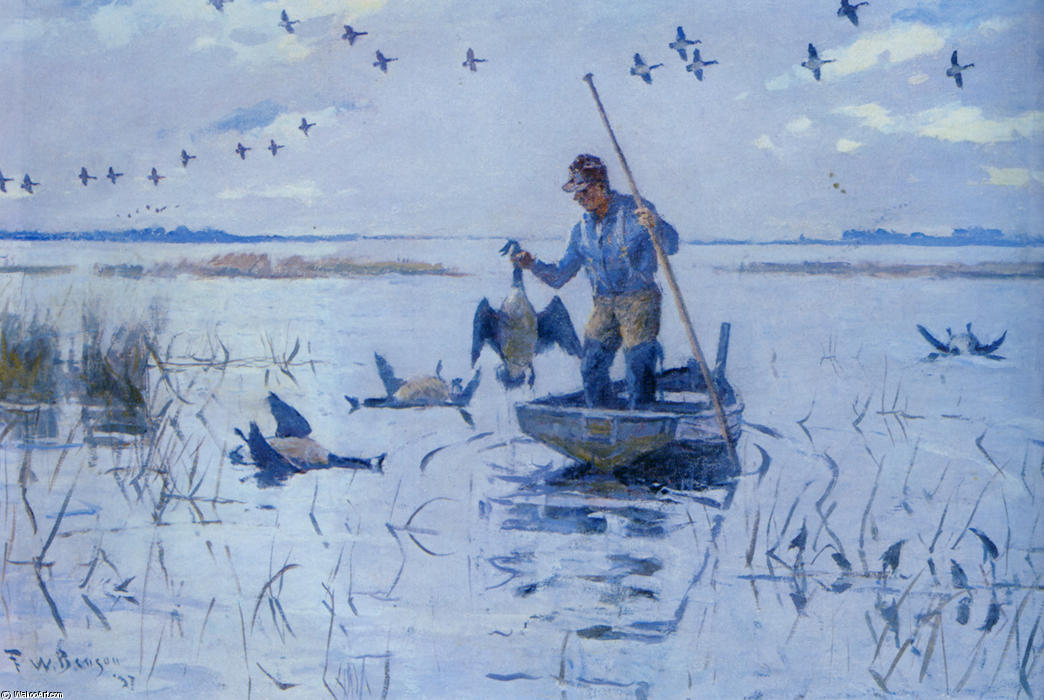 famous painting Retrieving Geese of Frank Weston Benson