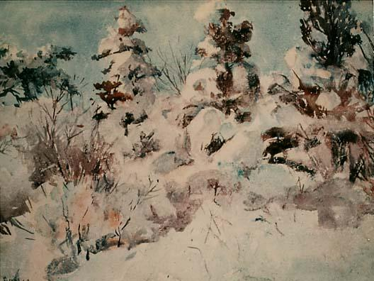 famous painting Snow-Laden Trees of Frank Weston Benson