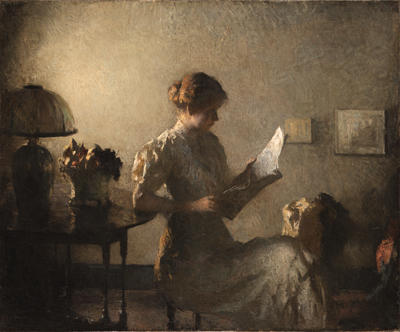 famous painting The Gray Room of Frank Weston Benson